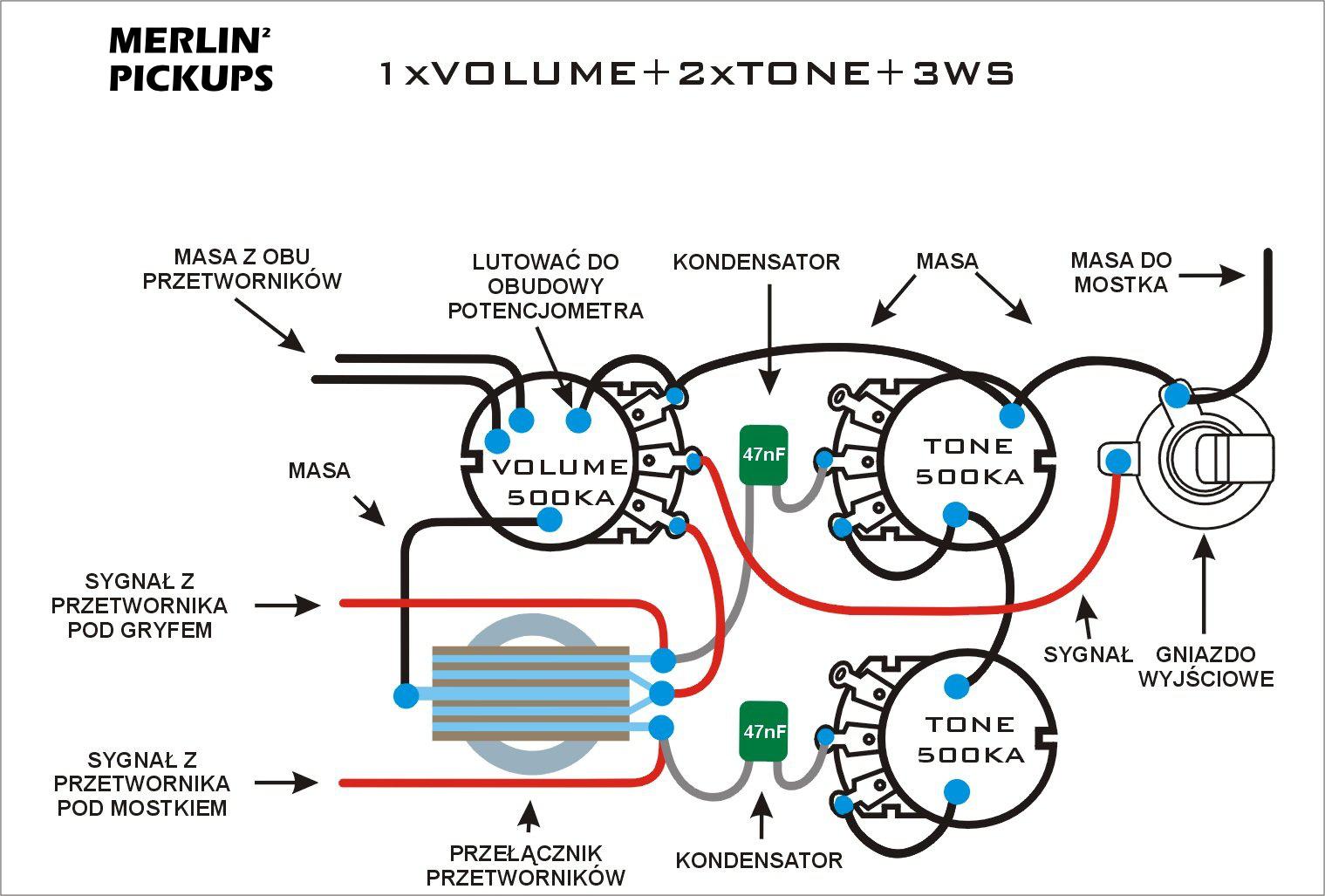 Schematy Merlin Pickups P Bass Pickup Wiring Diagram 1x Volume 2x Tone 3ws